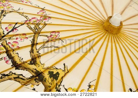 Detail of Japanese umbrella isolated on white background. poster