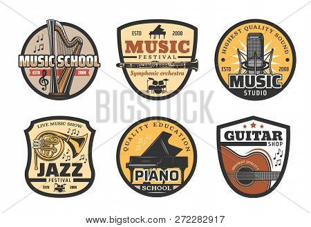 Music Icons With Musical Instruments For School Or Record Studio. Harp And Flute, Trumpet And Piano