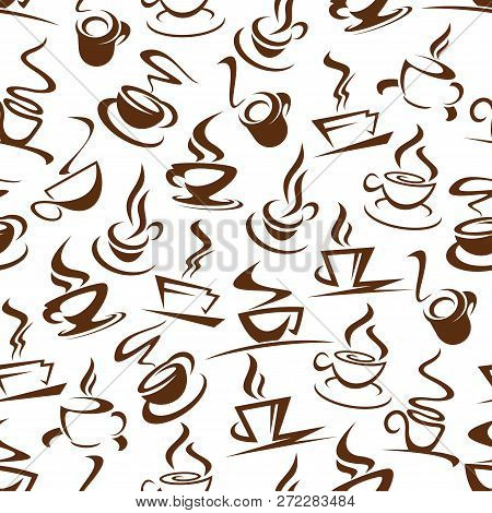 Hot Coffee Seamless Pattern Of Steaming Energetic Beverages. Cups On Saucer With Steam Silhouettes I