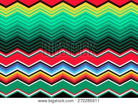 Mexican Blanket Stripes Seamless Vector Pattern. Typical Colorful Woven Fabric From Central America,
