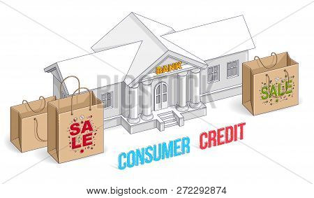 Consumer Credit Concept, Bank Building With Shopping Bags Isolated On White Background, Banking Them