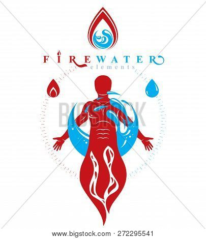 Vector Illustration Of Human Being Standing, Mythic Ancient God. Prometheus Surrounded By A Water Ba