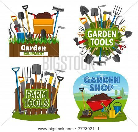Gardening Tools And Equipment Isolated Posters. Garden Shop Items Shovel, Spade, Rake And Pruner, Tr