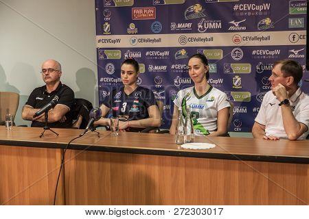 Odessa, Ukraine Nov 27,2018: 2019 Cev Volleyball Cup - Women 16Th Finals Khimik Yuzhny (ukr) - Green