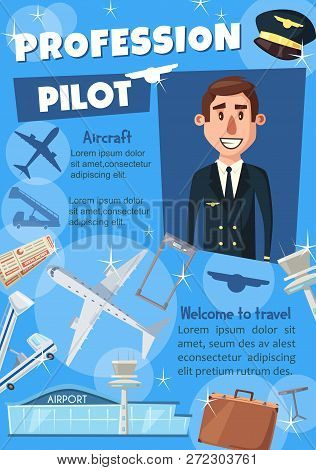 Pilot Vacancy Poster For Transportation Profession In Airline And Travel. Aircraft Captain Or Aviato