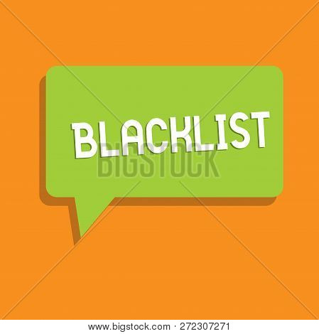 Conceptual hand writing showing Blacklist. Business photo showcasing list of showing or groups regarded as unacceptable or untrustworthy Speech Bubble in Solid Color Circular Text Space with Tail. poster