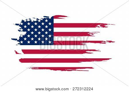 American Flag. Brush Painted Flag Of Usa. Hand Drawn Style Illustration With A Grunge Effect And Wat