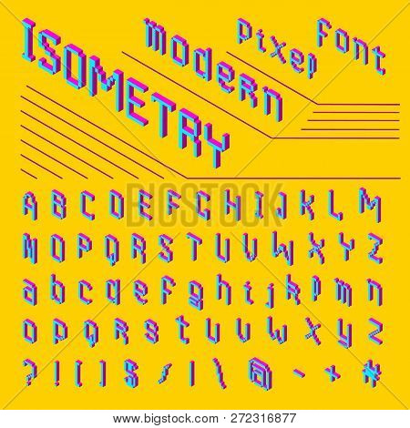 Pixel Isometric Font. 8-bit Symbols. 3d Digital Video Game Style. Letters And Numbers. Vintage Retro