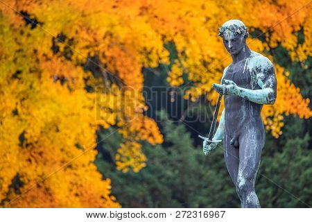 Statue of sensual renaissance era Roman man warrior with sword at golden Autumn, Potsdam, Germany poster