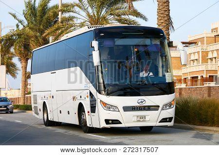 Dubai, Uae - November 18, 2018: Touristic Coach Bus Higer Klq6123k In The City Street.