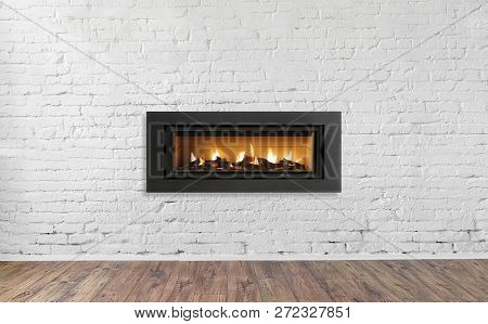 Gas Fireplace On White Brick Wall In Bright Empty Living Room Interior Of House.