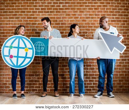 Diverse people holding browsing icons
