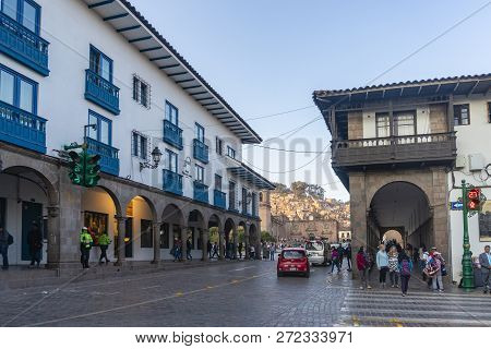 Cusco, Peru - Sep 12, 2018: View Of A Busy Street Near Plaza De Armas In Cusco City Of Peru. It Was