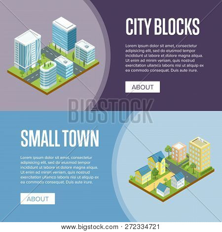 Modern City Blocks And Small Town Isometric Illustration. Skyscrapers With Glass Facades, City Stree