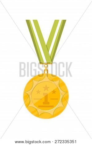 First place golden medal with ribbon isolated on white background. Champion achievement medallion, award ceremony label, victory prize sticker, winner trophy illustration. poster