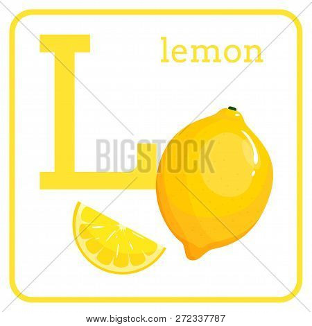 An Alphabet With Cute Fruits, Letters A To Z. Cartoon Vector Alphabet Isolated On A White Background