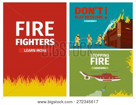 Vector Illustration Cartoon Fire Extinguishing. Set Banner Image. Fire Fighters, Fire On Red Backgro