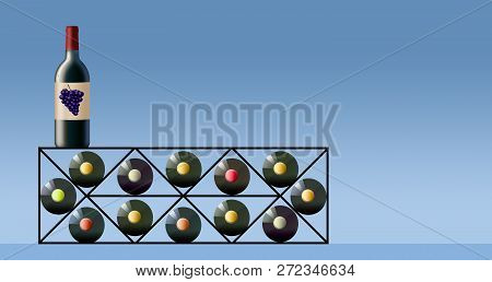 Wine Bottles Are Seen In A Wine Rack.