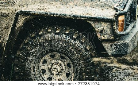 Forget About Driving On Smooth Tarmac. Car Racing Offroad. Offroad Car In Action. Dirty Car Drive On