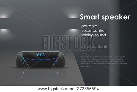 Realistic Mockup With Black Portable Smart Speaker On Gray Background. Wireless Audio Device With Vo