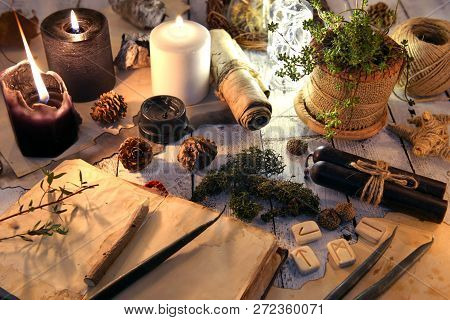 Open book, black and white candles, runes and succulent on witch table. Magic gothic ritual. Wicca, esoteric and occult background with vintage objects poster