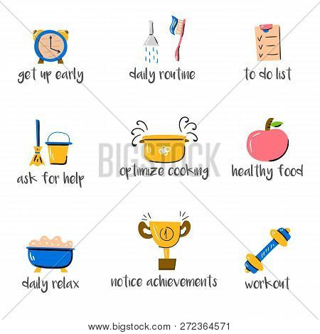 Vector Illustration, Mom Productivity Theme. Trend Big Objects And Little Woman. Happy Motherhood. A