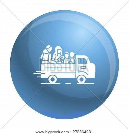 Truck Homeless Family Icon. Simple Illustration Of Truck Homeless Family Vector Icon For Web Design