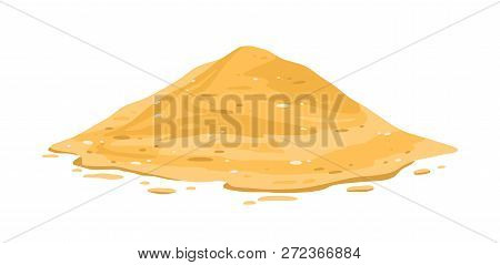 Heap Of Sand Isolated On White Background. Sandy Dune In Desert Or At Beach, Construction Or Manufac