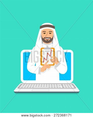 Online Business Coaching Concept. Vector Flat Illustration. Young Arab Man Business Coach On Compute