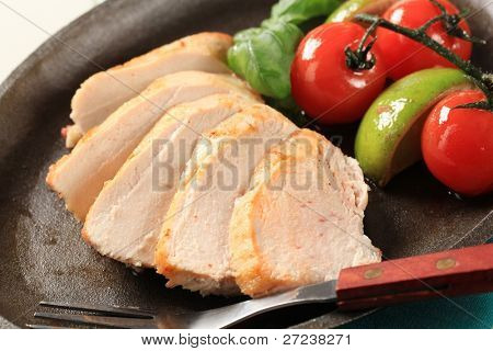 Slices of pan roasted chicken breast - detail