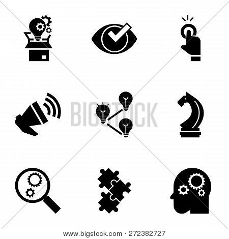 Solution Icon Set. Simple Set Of 9 Solution Icons For Web Design Isolated On White Background