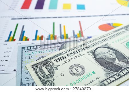 Us Dollar And Euro Banknotes Money On Chart Graph Spreadsheet Paper. Financial Development, Banking