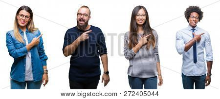Collage of group of young business people over isolated background cheerful with a smile of face pointing with hand and finger up to the side with happy and natural expression on face
