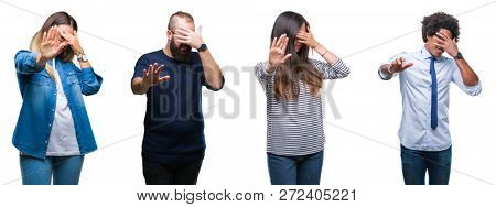 Collage of group of young business people over isolated background covering eyes with hands and doing stop gesture with sad and fear expression. Embarrassed and negative concept.
