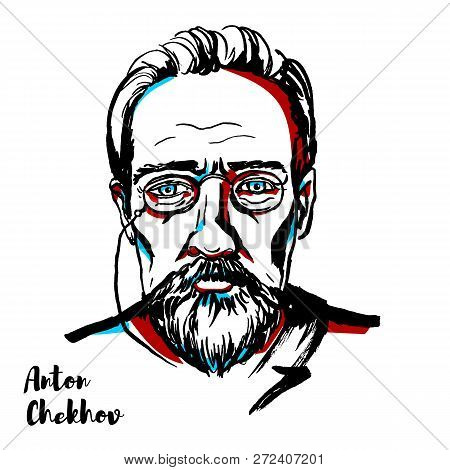 Anton Chekhov Engraved Vector Portrait With Ink Contours. Russian Playwright And Short-story Writer,