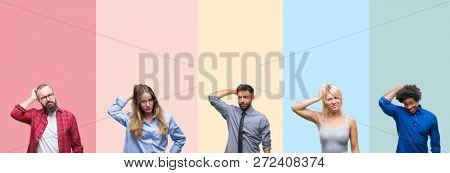 Collage of different ethnics young people over colorful stripes isolated background confuse and wonder about question. Uncertain with doubt, thinking with hand on head. Pensive concept.