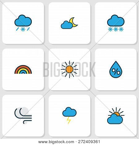 Weather Icons Colored Line Set With Percent, Frosty, Tempest And Other Raindrop Elements. Isolated V