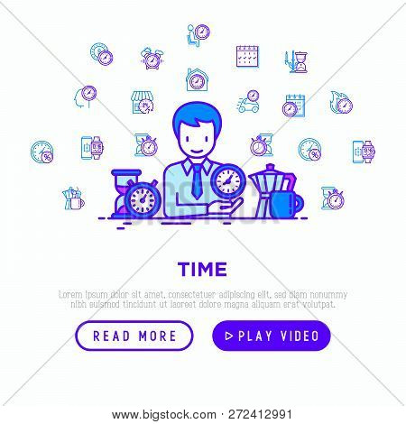 Time Manager With Thin Line Icons: Coffee Time, Stopwatch, Smart Watch, Hot Time, Sale, Deadline, Al