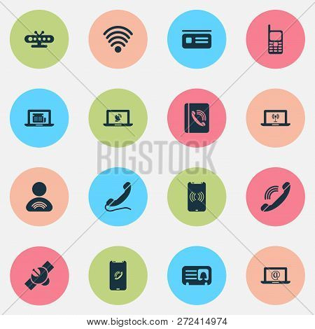 Communication Icons Set With Letter, Handset, Wifi Member Elements. Isolated Vector Illustration Com