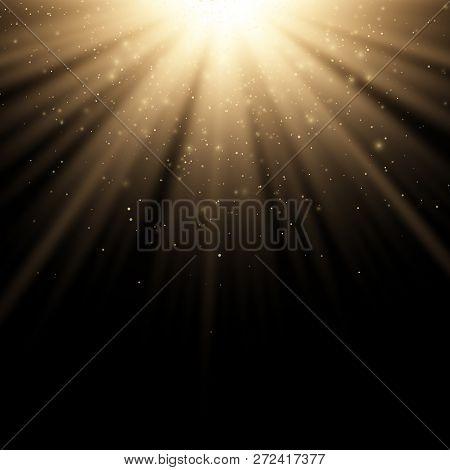 Golden Stylish Light Effect On A Black Background. Golden Rays. Bright Explosion. Flying Golden Magi