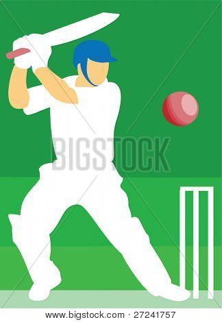 Cricket batsman hits one for six.