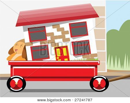 Childrens hand cart with dolls house representing moving home
