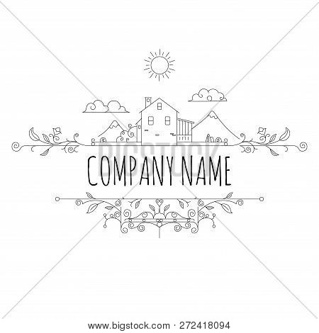 Farm House Concept Logo Template With Village Landscape Label For Natural Products