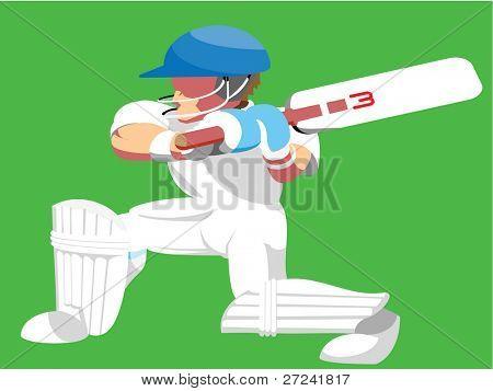 Cute cartoon style cricket batsman