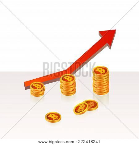 Bitcoin Up Growth Concept. Bitcoin Revenue Illustration. Stacks Of Gold Coins Like Income Graph With