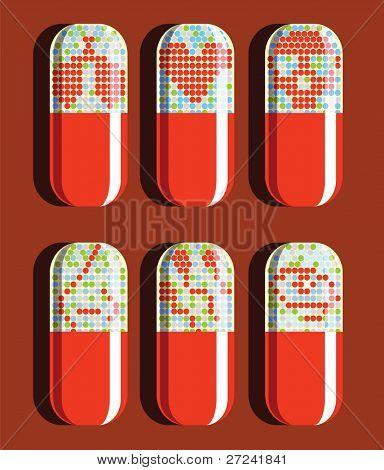 Set of six pills showing various ailments