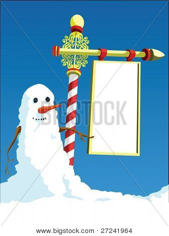 Snowman at the North Pole with space left empty for your logo etc.