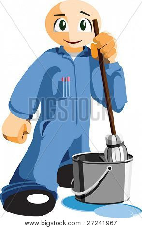 janitor or cleaner with mop and bucket