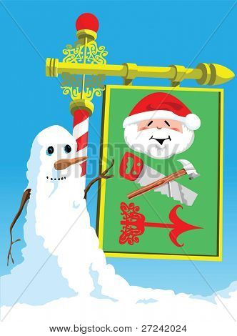Snowman points the way to Santa's Workshop!
