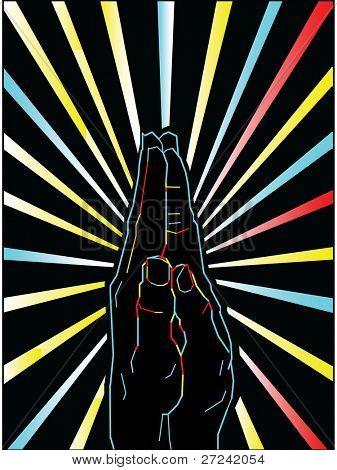 Neon light hands praying